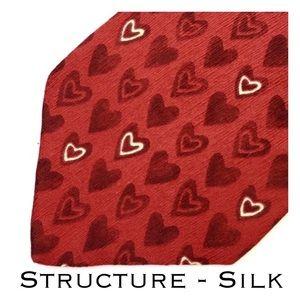 Structure Brand Graphic Heart Print Men's Silk Tie